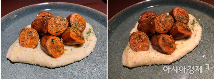 아이폰12 미니(좌)로 촬영한 음식, 접시가 아이폰X(우)로 촬영한 사진보다 더 밝게 나왔다.
