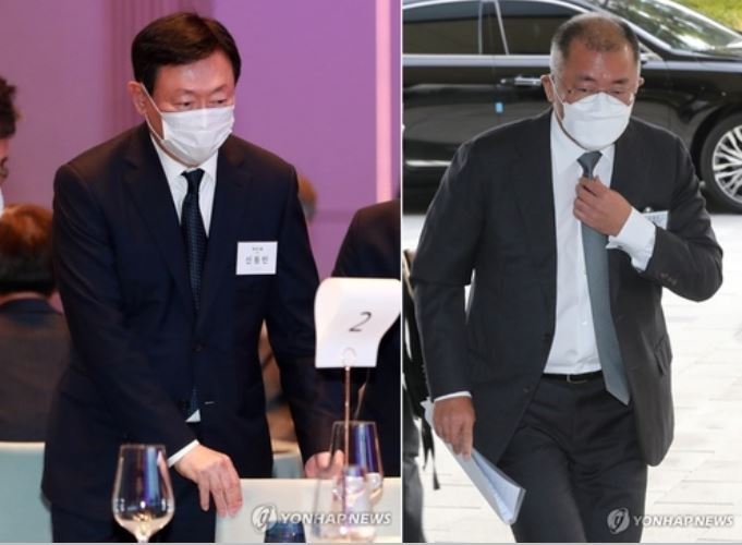 정의선-신동빈, 롯데케미칼에서 회동…전기차 신소재 협업 모색(종합)