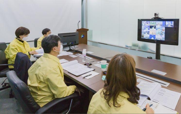 [포토]채현일 영등포구청장, 서울시구청장협의회 영상회의 참석