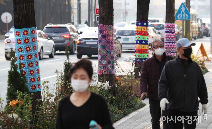 초겨울 날씨가 이어지고 있는 26일 서울 노원구청 인근 가로수에 알록달록한 손뜨개 옷이 입혀져 있다.