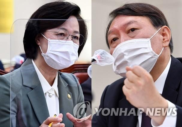 추미애 법무부장관과 윤석열 검찰총장./사진=연합뉴스
