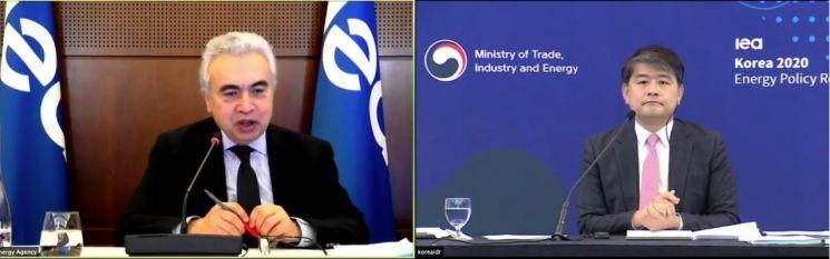 국제에너지기구(IEA)가 26일 개최한 '한국 에너지정책 국가 보고서 발간 행사'에서 파티 비롤 IEA 사무총장(왼쪽)과 주영준 산업통상자원부 에너지자원실장이 질문과 답변을 나누는 모습.(이미지 출처=IEA 행사 유튜브 중계 영상 캡처)