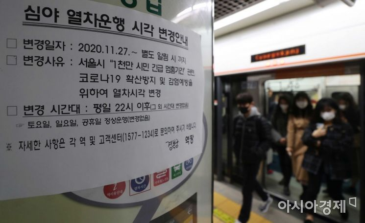 [포토]코로나19 확산 방지 밤 10시 이후 지하철 운행 감축