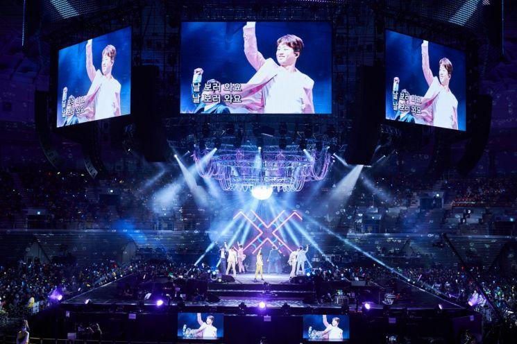 8월 7일 서울 송파구 올림픽공원 체조경기장에서 열린 '내일은 미스터트롯' 서울 콘서트에서 '톱7'이 무대를 펼치고 있다. [이미지출처=쇼플레이, 연합뉴스]