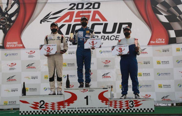 부산 과기대 이동현이 ASA KIC-CUP 투어링 카레이스 '한국형 포뮬러 KF 1600' 최종전에서 우승해 시상대 가장 높은 곳에 올랐다.