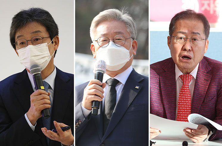 (왼쪽부터) 유승민 의원, 이재명 지사, 홍준표 의원 [이미지출처=연합뉴스]
