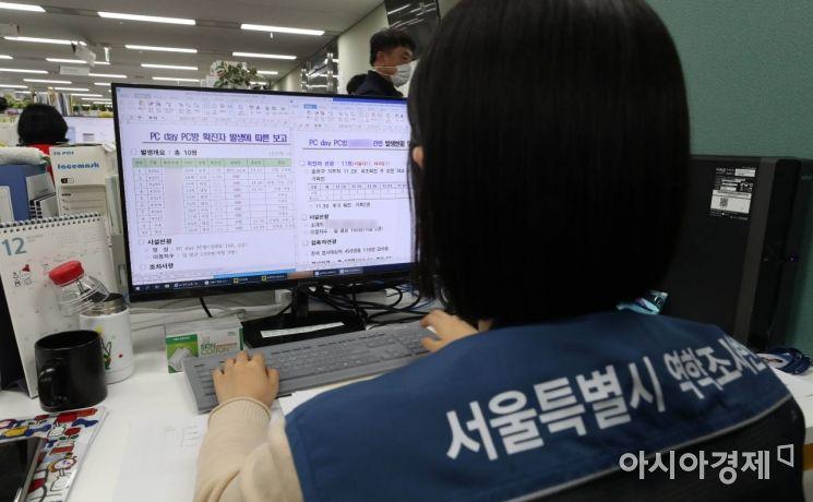 2일 오후 서울시청에서 감염병관리과 역학조사반 직원들이 분주히 업무를 보고 있다.