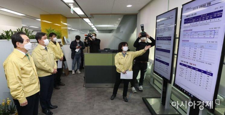 [포토]코로나19 현황 보고받는 정세균 총리