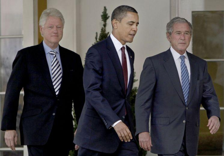 빌 클린턴(왼쪽부터), 버락 오바마, 조지 부시 전 미국 대통령 [이미지출처=AP연합뉴스]
