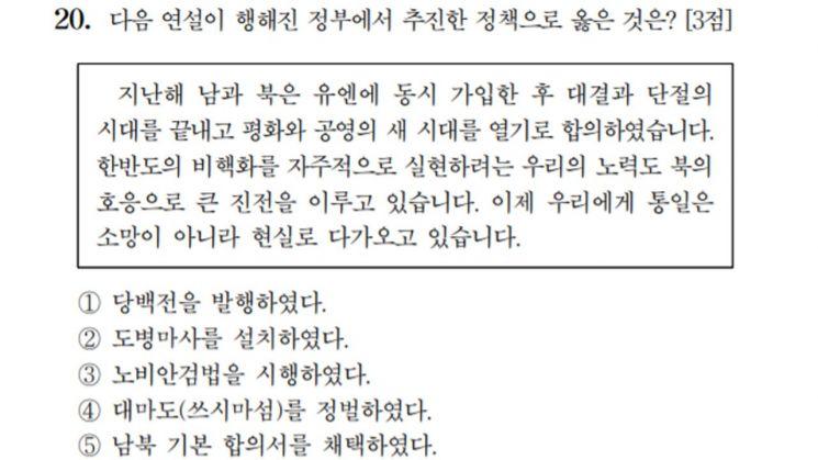 3일 치러진 2021학년도 대학수학능력평가시험 한국사 영역 20번 문항. / 사진=한국교육과정평가원