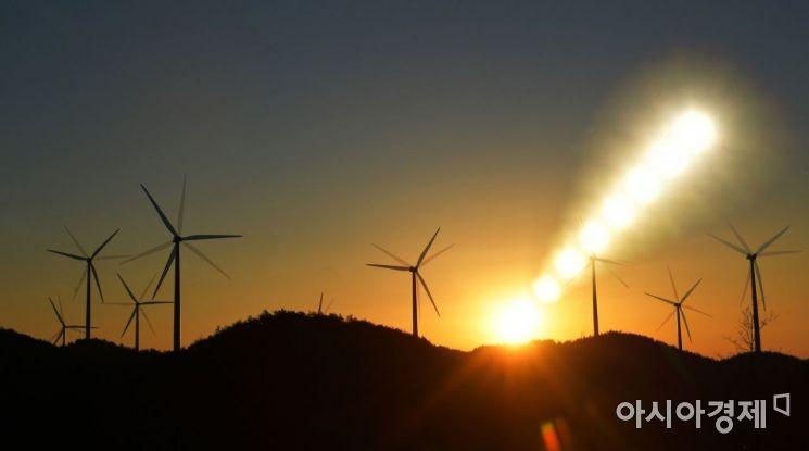 국내 최초의 대단위 풍력발전단지인 영덕풍력발전단지. 니콘 D5 카메라, 24-70 렌즈로 다중촬영./경북 울진=윤동주 기자 doso7@