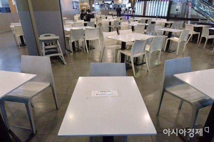 수도권에서 5명 이상의 모든 사적 모임을 금지하는 특별방역 조치가 시행된 23일 서울 시내의 한 쇼핑몰 푸드코트가 한산한 모습을 보이고 있다. 24일부터는 5인 이상 모임 금지 조치가 전국의 식당으로 확대되고, 사적 모임의 경우 취소나 자제가 강력히 권고된다./김현민 기자 kimhyun81@