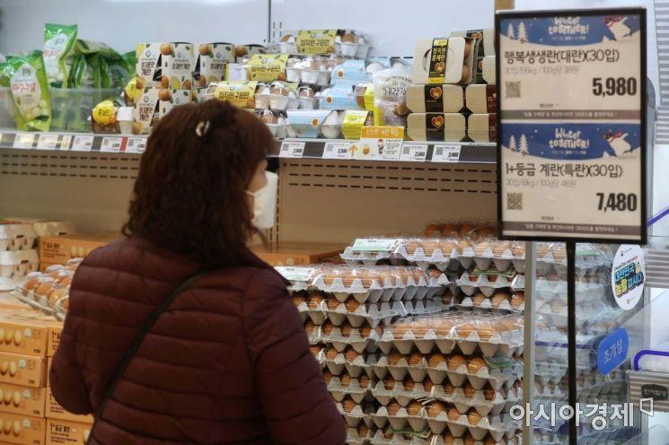고병원성 조류인플루엔자(AI) 확산으로 달걀 한 판 가격이 6천 원을 돌파했다. 11일 한국농수산식품유통공사(aT)에 따르면 달걀 한 판의 소매 가격은 8일 기준 6082원으로 집계됐다. AI 확산세가 꺾이지 않으면서 밥상물가에 영향을 주는 닭고기와 달걀 값이 더 오를 수 있다는 우려가 나오고 있다. 이날 서울 시내 한 대형마트에서 시민들이 계란을 살펴보고 있다. /문호남 기자 munonam@