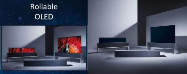중국 스카이워스가 공개한 자사 롤러블 OLED TV 모습(왼쪽)과 LG전자가 작년 10월 공개한 롤러블 올레드 TV 모습(오른쪽). 사진출처 = 스카이워스·LG전자