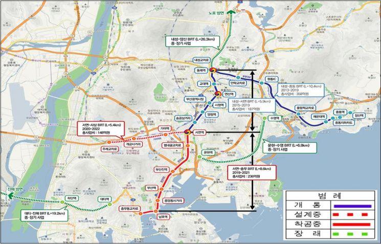 부산 BRT 계획안 (제공=국토교통부 대도시권광역교통위원회)