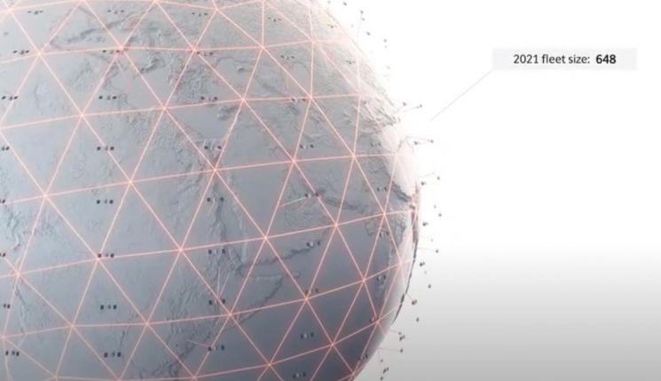 영국 정부와 인도 '바르티 글로벌'이 합작 투자한 인터넷 위성군 구축 스타트업 '원웹'의 인터넷망 홍보 동영상. 위성들이 지구 궤도를 촘촘히 둘러싸 어디서든 초고속 인터넷을 제공할 수 있다. / 사진=유튜브 캡처