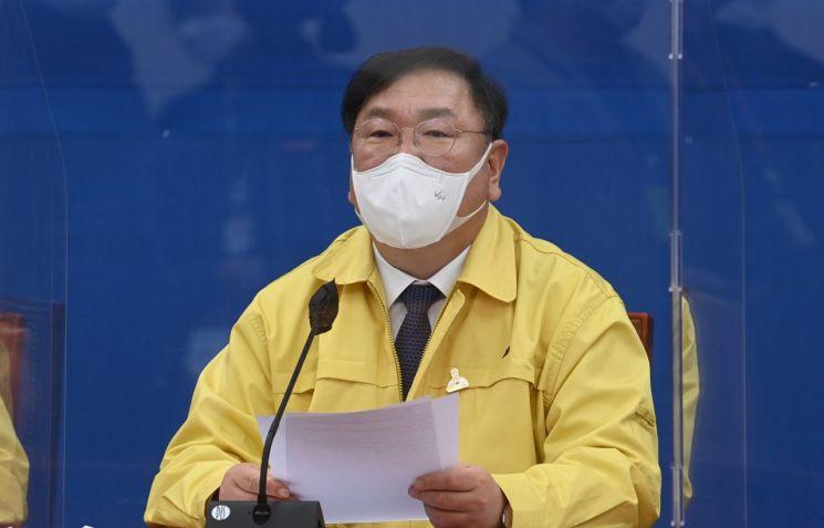 김태년 더불어민주당 원내대표가 21일 국회에서 열린 정책조정회의에서 발언하고 있다. / 사진=연합뉴스