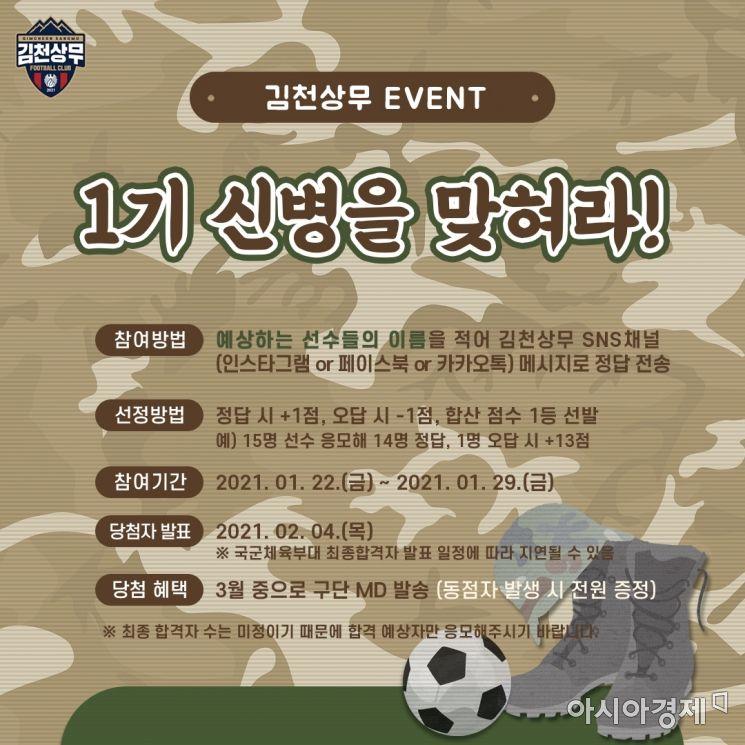 김천상무프로축구단(대표이사 배낙호)이 22일부터 29일까지 '1기 신병을 맞혀라' 이벤트를 실시한다. 사진은 포스트.