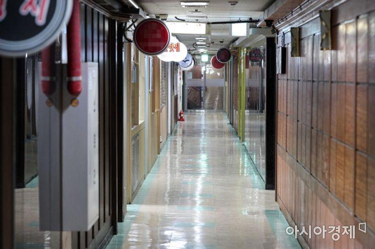 코로나19 확산을 방지하기 위한 사회적 거리두기가 이어지고 있는 지난 1월22일 서울 지하철5호선 마포역 인근 지하상가가 한산한 모습을 보이고 있다./강진형 기자aymsdream@