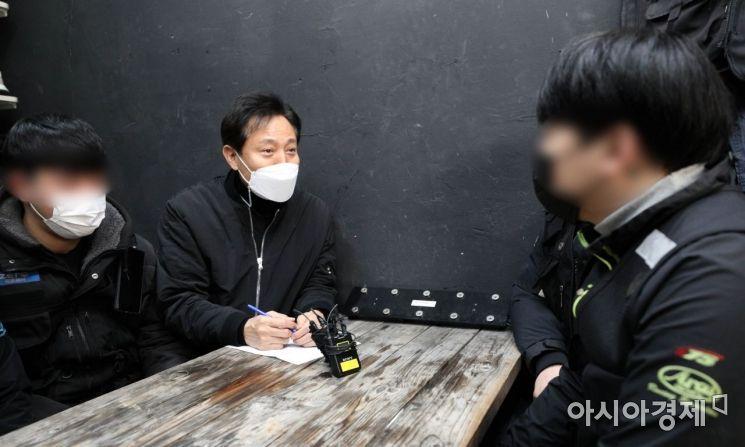[포토] 배달업체 찾은 오세훈 전 시장