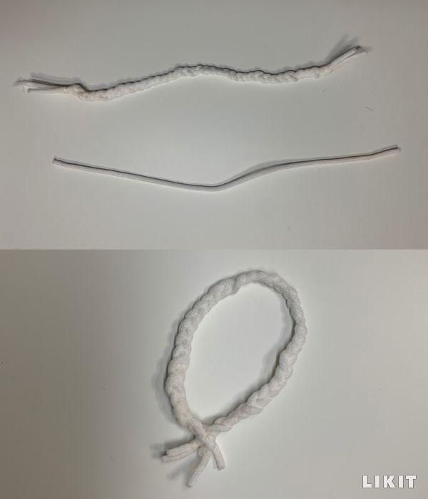 간단한 방법으로 마스크 끈으로 머리끈 만들기
