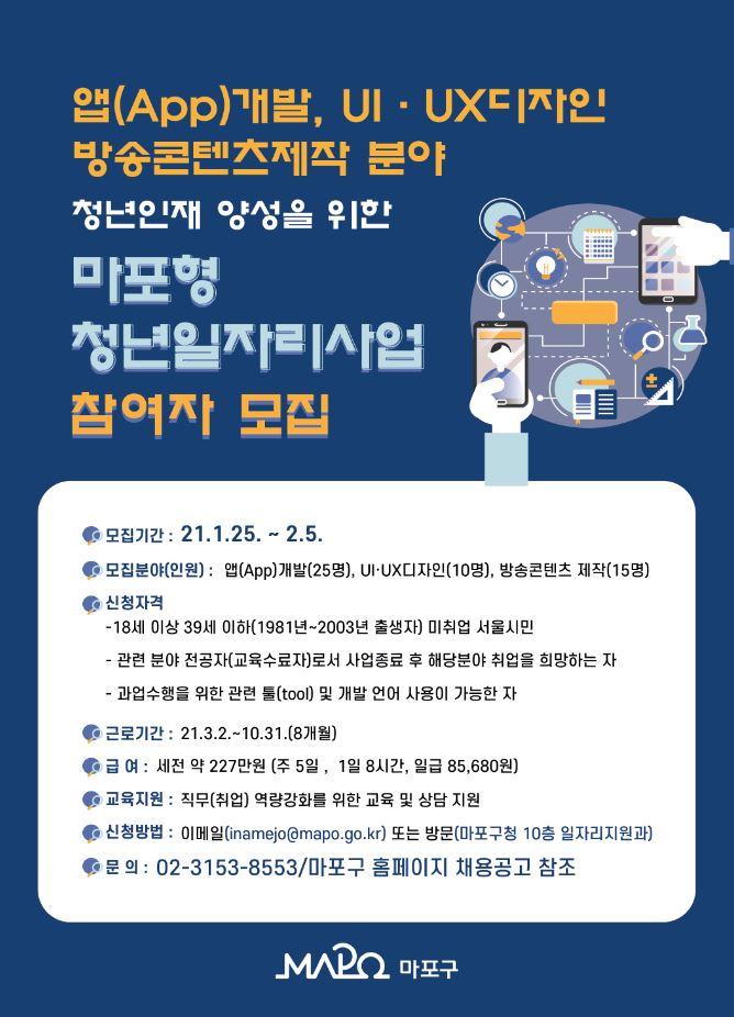 마포구, 청년일자리사업 참여자 모집...매월 227만원 지급