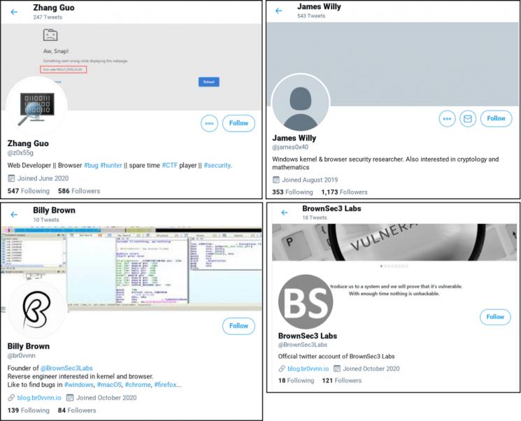 북한이 해외 사이버보안 연구자들의 컴퓨터를 해킹하기 위해 활용한 가짜 사회관계망서비스(SNS) 계정들의 모습 [출처=구글 위협분석그룹 블로그]
