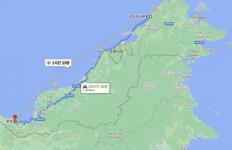 일진머티리얼즈의 동박 공장이 위치한 말레이시아 쿠칭시와 SK넥실리스가 투자를 결정한 코타키나발루시 사이의 거리 [사진 = 구글맵 캡처]
