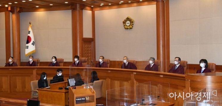 [포토] 대심판정에 자리한 헌법재판관들