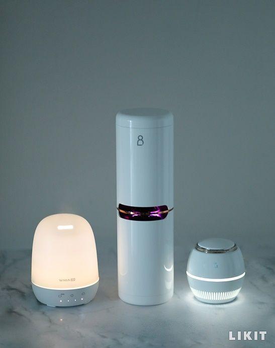 사진=(좌측부터) 휘아 '미니 UV 살균 가습기 위에어, 프롬비 '더블케어 공기청정기', 게이즈 '에어1 공기살균기'