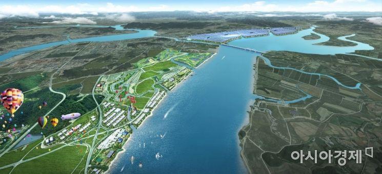 전남 영암군 삼호읍과 미암면 일대 영산강 간척지 3-1지구에 조성될 그린뉴딜시티 전체 조감도. 사진=Sollease E&D