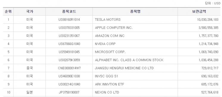 18일 기준 한국 투자자가 보유한 해외 주식 상위 10개 종목. 한국예탁결제원 세이브로 캡쳐.