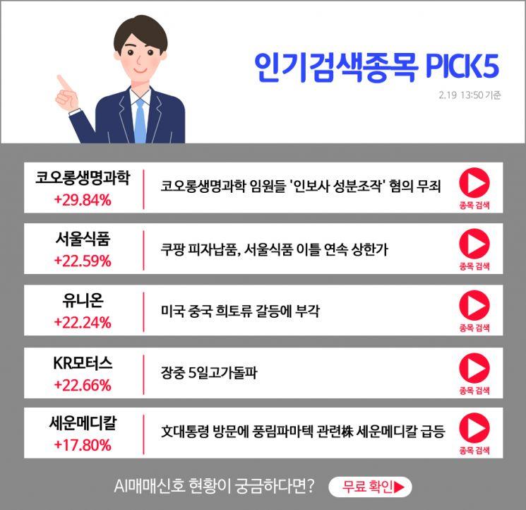 [오후장 인기검색종목 PICK5] 코오롱생명과학, 서울식품, 유니온..