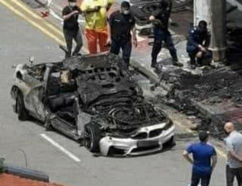 폭발과 화재로 부서진 BMW 차량. 사진=페이스북 갈무리.