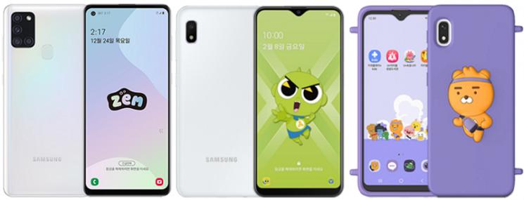 (왼쪽부터)SKT의 '갤럭시A21s 잼(ZEM)', KT의 'KT 신비 키즈폰', LGU+의 'U+카카오리틀프렌즈폰4'