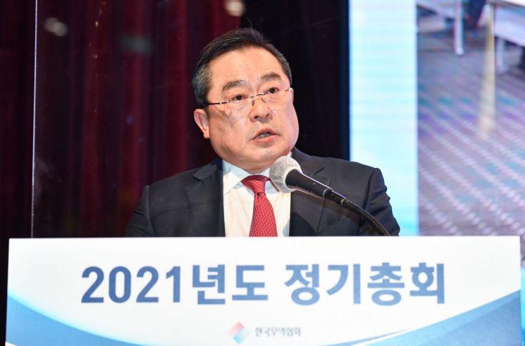 구자열 한국무역협회 신임 회장이 취임사를 하고 있다.[사진=무역협회 제공]