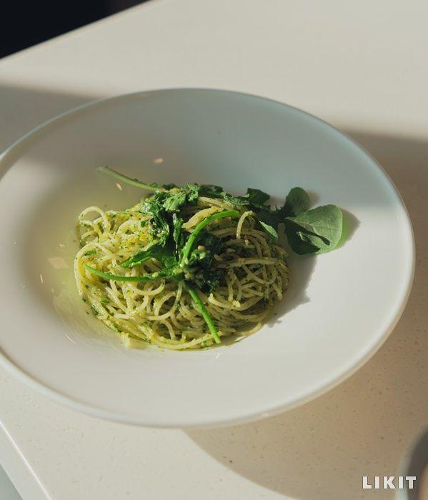 식물성 재료로만 요리한 루꼴라 페스토 파스타