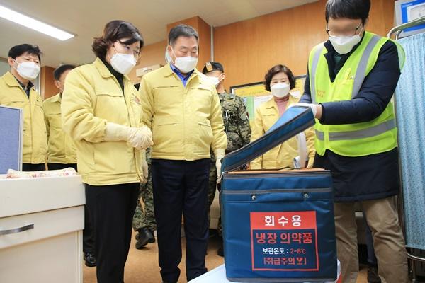 무안군에 아스트라제네카 백신이 지난 25일 오전 도착했다. (사진=무안군 제공)
