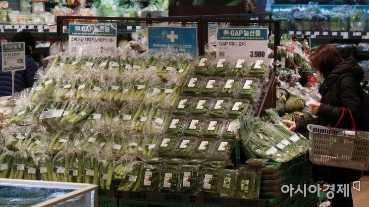 코로나19으로 인한 경기침체로 민생경제가 큰 타격을 입은 가운데, 물가 상승마저 지속되며 밥상 물가 역시 연일 비상이다. 25일 통계청에 따르면 지난 1월 소비자물가지수는 전년 동기 대비 0.6%로 소폭 늘었지만 농·축·수산물은 10% 급등한 것으로 나타났다. 사진은 이날 서울의 한 대형마트를 찾은 시민들이 장을 보는 모습./김현민 기자 kimhyun81@