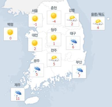 내일 날씨, 남부지방 아침까지 비…수도권·충남 미세먼지