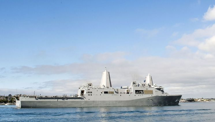 미 해군 소속 상륙수송선거함(LPD) 샌디에이고함 [이미지출처=AP연합뉴스]