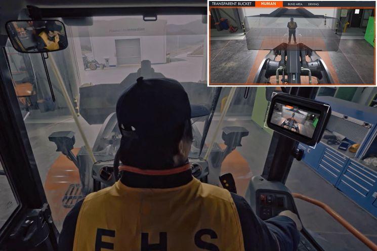 두산인프라코어, 사각지대 볼 수 있는 '투명버킷' 휠로더 출시