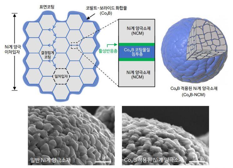 개발된 코팅법이 입자 내부까지 코팅 하는 모식도와 실제 현미경 사진.