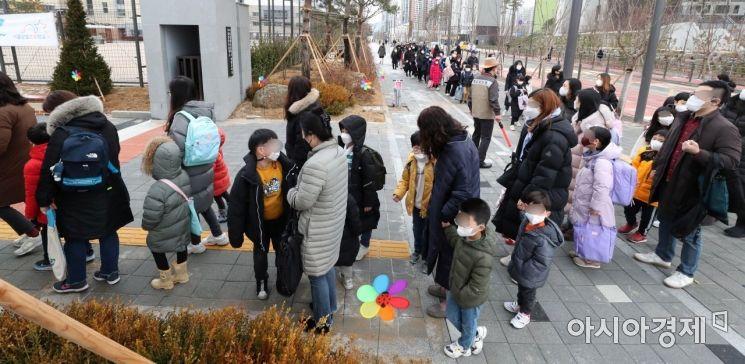 [포토]발열체크하기 위해 기다리는 초등학생들