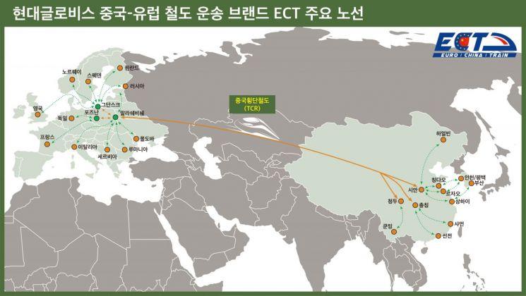 현대글로비스 중국~유럽 철도운송 브랜드 ECT의 주요 노선