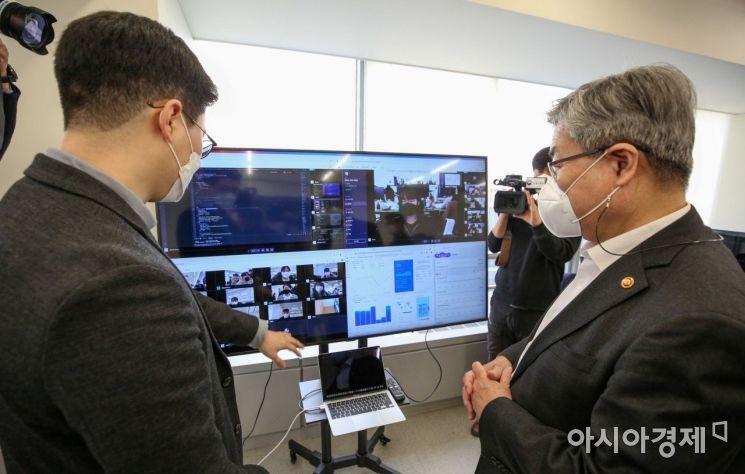 [포토]디지털트레이닝 기관 방문한 이재갑 장관