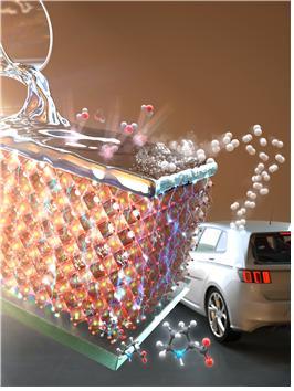 페로브스카이트 태양전지를 이용해 제작한 광전기화학소자의 모식도, 페로브스카이트 태양전지에서 생성된 전기를 이용하여 수소를 생산하는 그림. 제공=한국연구재단