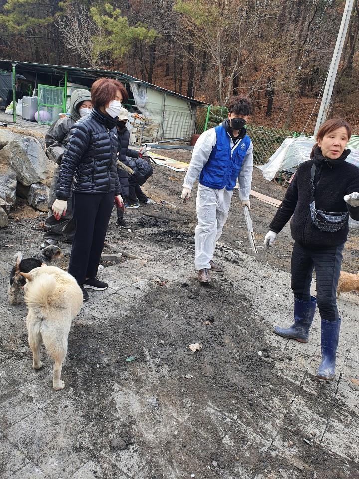 한정애 환경부 장관(왼쪽 두번째)이 배우 이용녀씨(오른쪽)의 유기동물보호소를 찾아 화재 복구를 돕고 있다. 2021.3.7 [팅커벨프로젝트 제공] [이미지출처=연합뉴스]