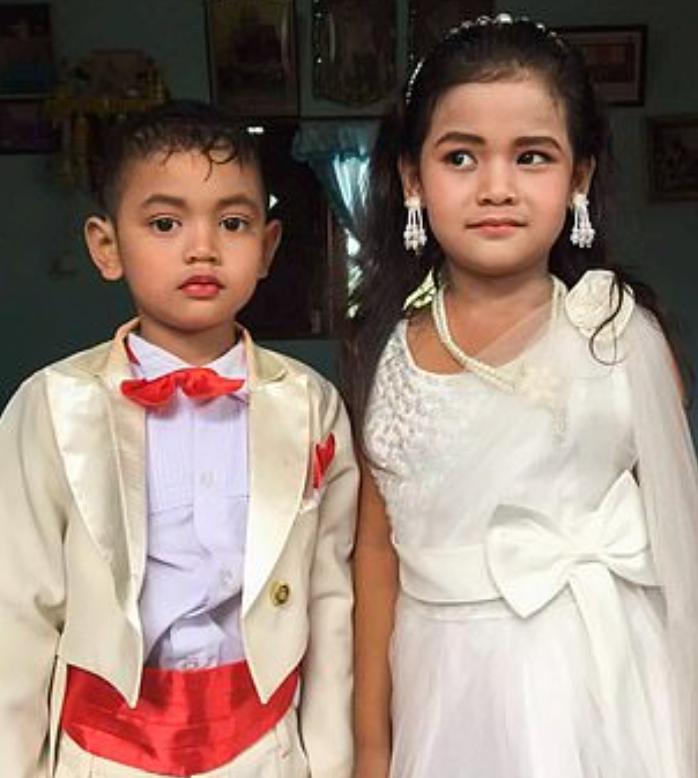 태국에서 5살 쌍둥이 남매가 결혼식을 올렸다. 사진=트위터 캡처.
