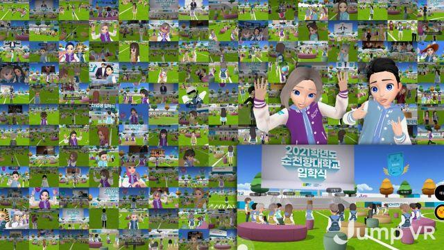 SK텔레콤이 2021년 순천향대학교 신입생 입학식을 자사 '점프VR' 플랫폼을 통해 메타버스 공간에서 진행하고 있다. [이미지출처=연합뉴스]